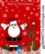 Cardinal-Bird - Christmas Santa Claus And Red-Nosed Reindeer