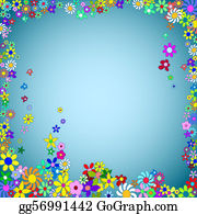 Vintage-Floral-Blue-Frame-Vector - Frame Of Colorful Flowers