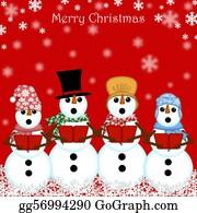 Choir - Christmas Snowman Carolers Singing Red