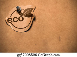 Eco-Friendly-Label - Eco Sticker Fixed By A Pushpin On A Bronw Paper Withe Copy Space