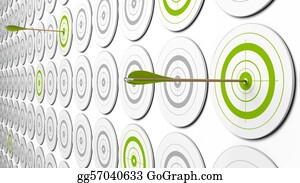 Bullseye - Two Arrows Hitting The Center Of Green Targets. There Is Some Grey Targets Around. This Is A 3d Image With Perspective