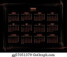 Orange-Border - Orange Calendar 2011 On Black Background With Abstract Border