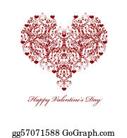 Vine - Happy Valentines Day Leaf Vine Hearts Motif