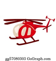 Helicopter - Cartoon Style Red Helicopter