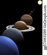 Solar-System - Solar System Planets In Alignment Around Sun