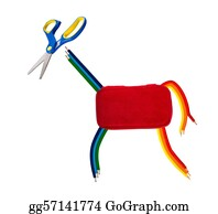 Pencil-Case - Happy Colorful Animal Made Of Pencilcase Scissors And Crayons
