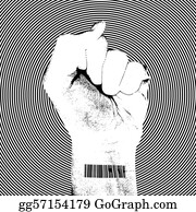 Fist - Raising Fist With Barcode