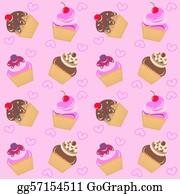 Coffee-With-Creamer - Seamless Cupcake Pattern