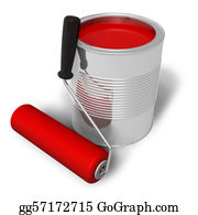 Utensils - Can With Red Paint And Roller Brush