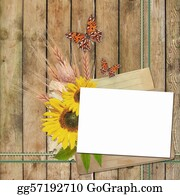 Congratulations - Card For Invitation Or Congratulation With  Sunflowers  And Butterfly