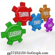 Strategy - Gears - Leadership Teamwork Synergy Strategy Goals