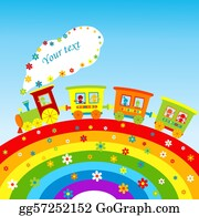 Funny-Toy-Train - Illustration With Cartoon Train, Rainbow And Place For Your Text