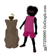 Tiki-Mask - African American Beach Girl Silhoue
