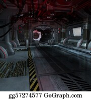 Forward - Background Or Composing Image Inside A Futuristic Scifi Spaceship