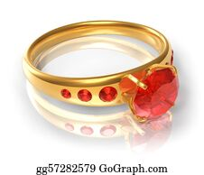 Ring-A-Ring - Golden Ring With Red Jewels