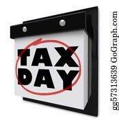 Tax-Return - Tax Day - Words Circled On Wall Calendar