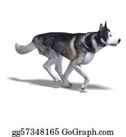 Husky - Alaskan Malamute Dog. 3d Rendering With Clipping Path And Shadow Over White