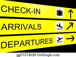 Suitcase - Airport Sign, Arrivals, Departure, Check In
