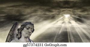 Headstone - Angel And Dramatic Sky