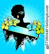 A-Palm-Tree-Sign-In-Yellow-And-Black -  African Girl