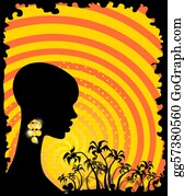 A-Palm-Tree-Sign-In-Yellow-And-Black - Palms And African Girl