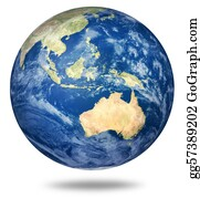 Australian - Planet Earth On White - Australian View