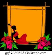A-Palm-Tree-Sign-In-Yellow-And-Black - Tropical Flowers And African Girl
