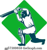 Stock Illustrations - Cricket batsman batting front . Stock ...