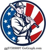 Baseball - Baseball Player Holding Bat American