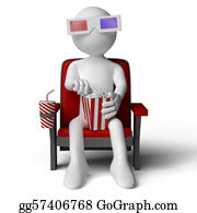 People-Watching-A-Movie - 3d Human Sitting On A Armchair