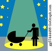Babies-And-Toddlers-Silhouettes - Mother With Baby Stroller In The Spotlight