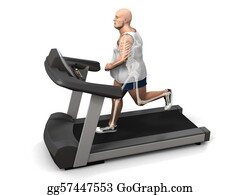 Overweight - Overweight Man On The Treadmill