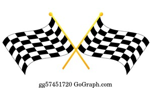 Street-Race - Two Crossed Waving Black Checkered Flags