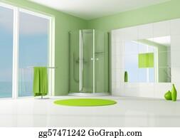 Cabin - Green Bathroom With Cabin Shower