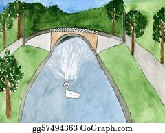 Swan - Child's Drawing A Swan And A Fountain In The Park.