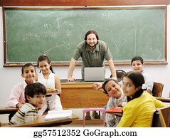 Teacher - Teacher In Classroom With His Little Happy Students