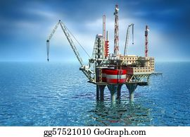Drilling-Rig - Drilling Offshore Platform In Sea.