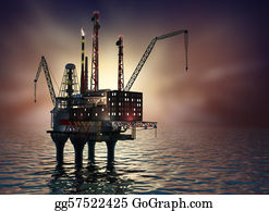 Drilling-Rig - Drilling Offshore Platform In Night