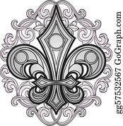 Fleur-De-Lys - Shield Symbol With Swirl Ornament