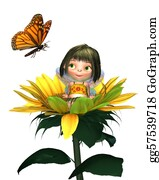 Fairy - Baby Sunflower Fairy With Butterfly
