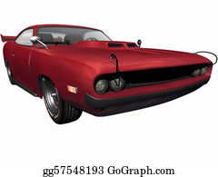 Muscle-Car - Red Sports Muscle Car