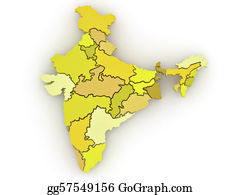 Map-Of-India - Three-Dimensional Map Of India On White Isolated Background