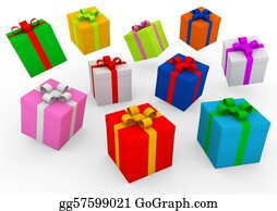 Wrap - 3d Blue Red Gold Pink Green Purple Gift Box