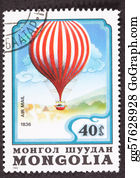 Air-Mail-Stamp - Mongolian Charles Green Royal-Vauxhall 1836 Balloon Air Mail Pos