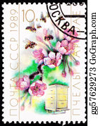 Bee-Hive - Canceled Soviet Postage Stamp Cherry Blossom Bee Hive Cultivatio