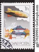 Air-Mail-Stamp - Hungarian Graf Zeppelin Air Mail Postage Stamp Japan Mount Fuji