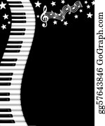 Music-Notes-On-Piano-Keyboard - Wavy Piano Keyboard Black And White Background
