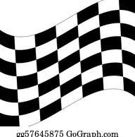 Street-Race - Waving Black And White Checkered Flag