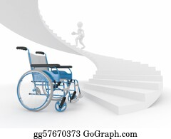 Obstacle-Course - Men With Wheelchair And Stairs