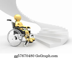 Obstacle-Course - Men With Wheelchair And Stairs. Difficult Decision